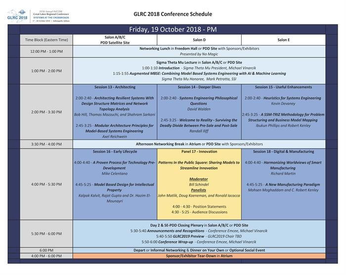 GLRC2018 Friday Afternoon Schedule