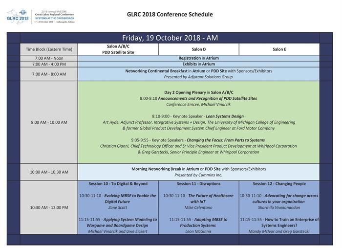 GLRC2018 Friday Morning Schedule