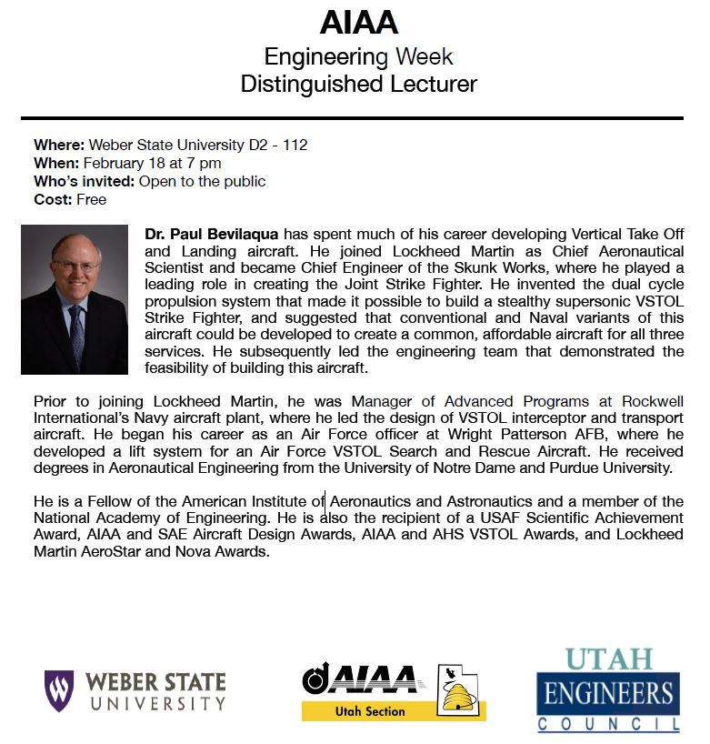 AIAA Engineering Week Distinguished Lecturer 2020